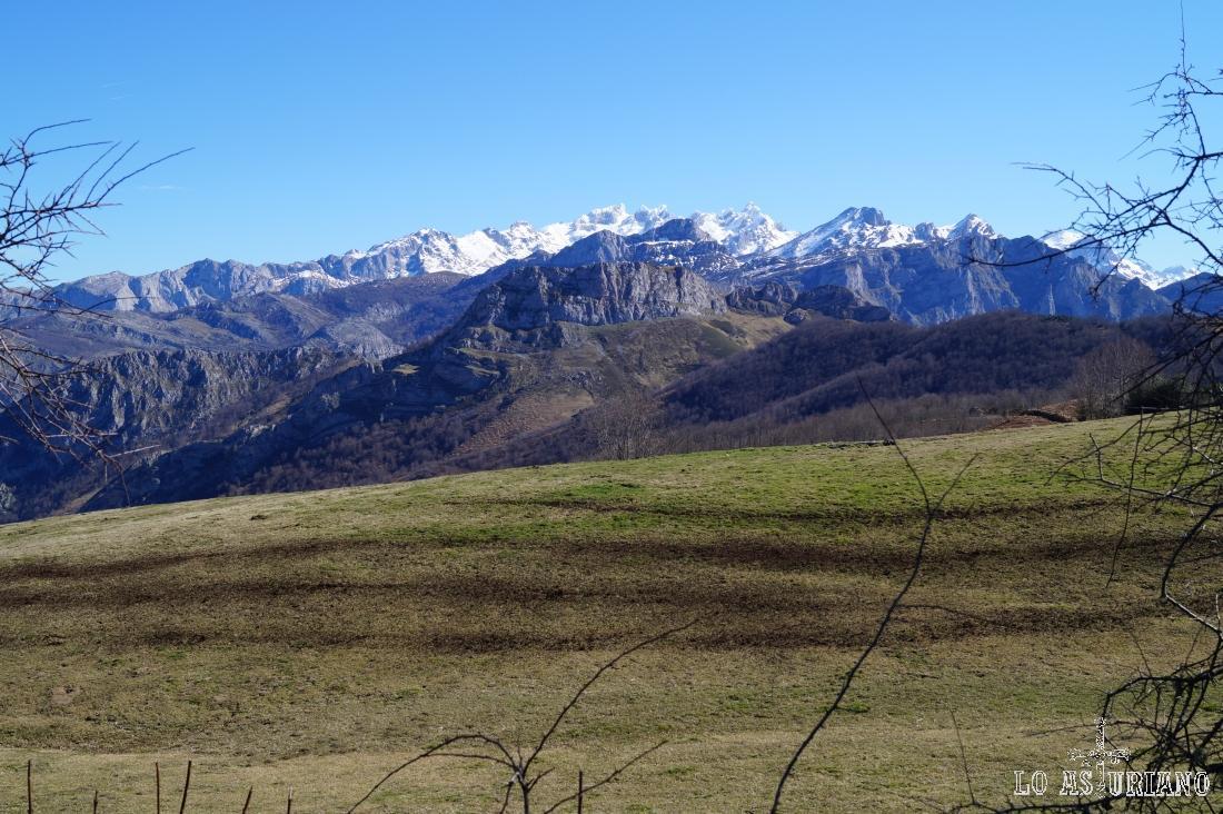 Macizo occidental de los Picos de Europa desde el mirador de Les Bedules, en Ponga, inicio de la ruta.