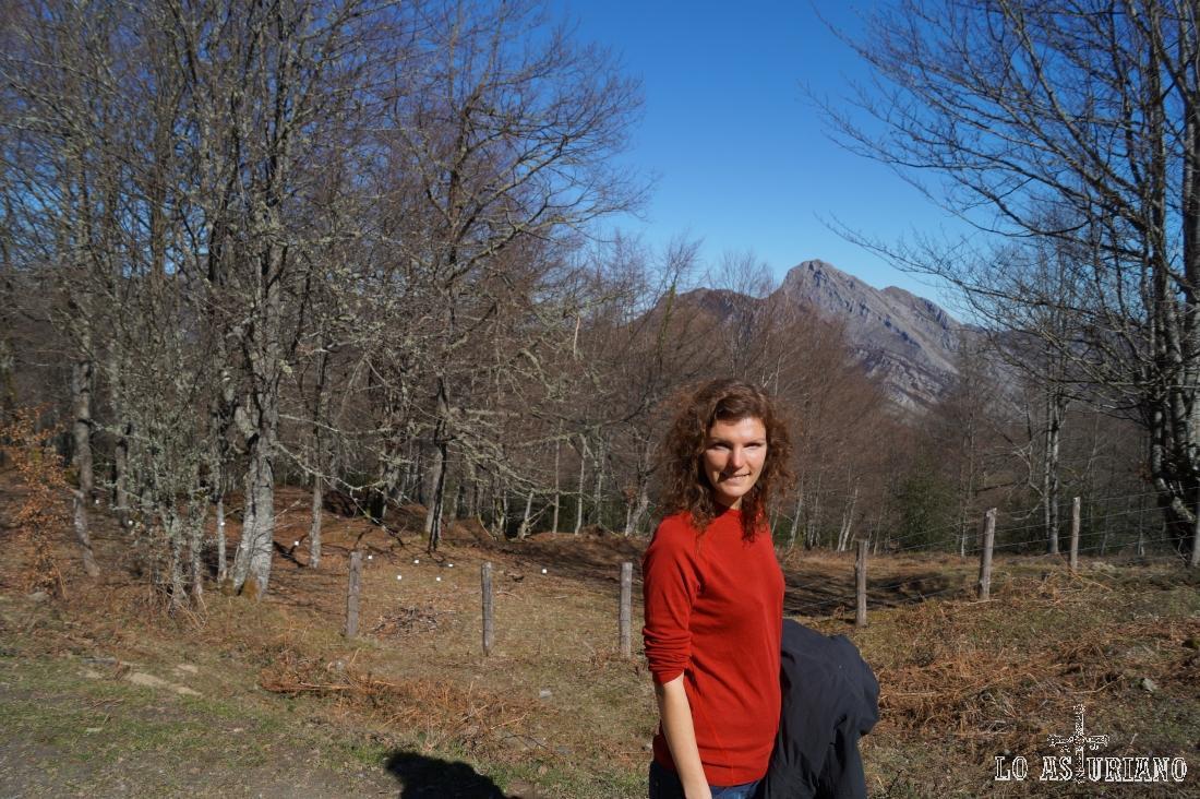 El pico Carriá desde un claro del bosque de Peloño.