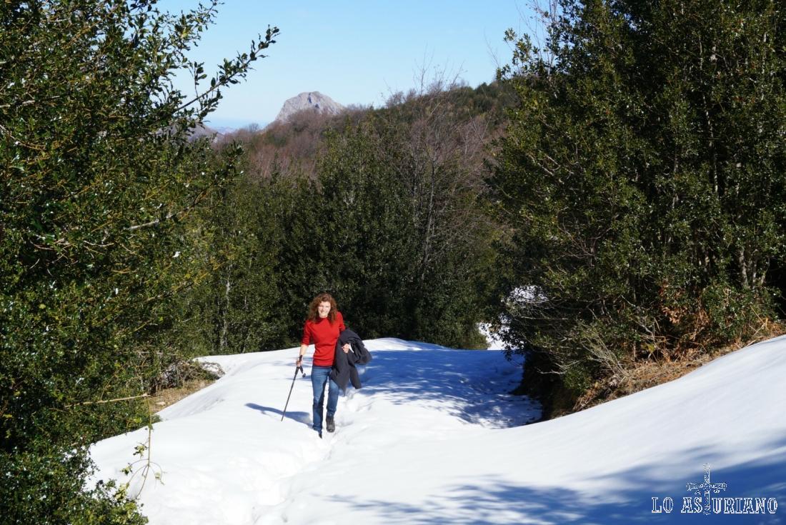 Poco a poco, tratando de acertar con la huella marcada, para no meter el pie demasiado en la nieve.