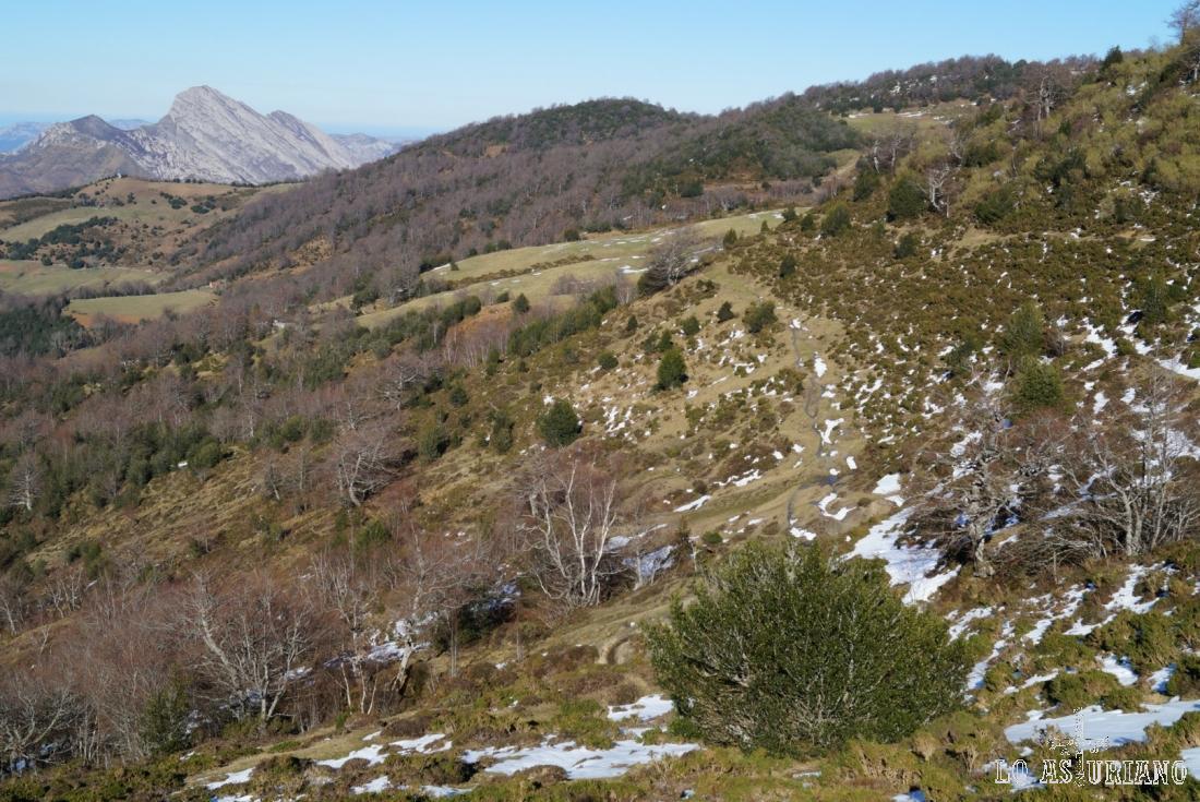 Siguiendo una de las muchas sendas ganaderas, camino de Les Llampes, que es el prau verde de enfrente.