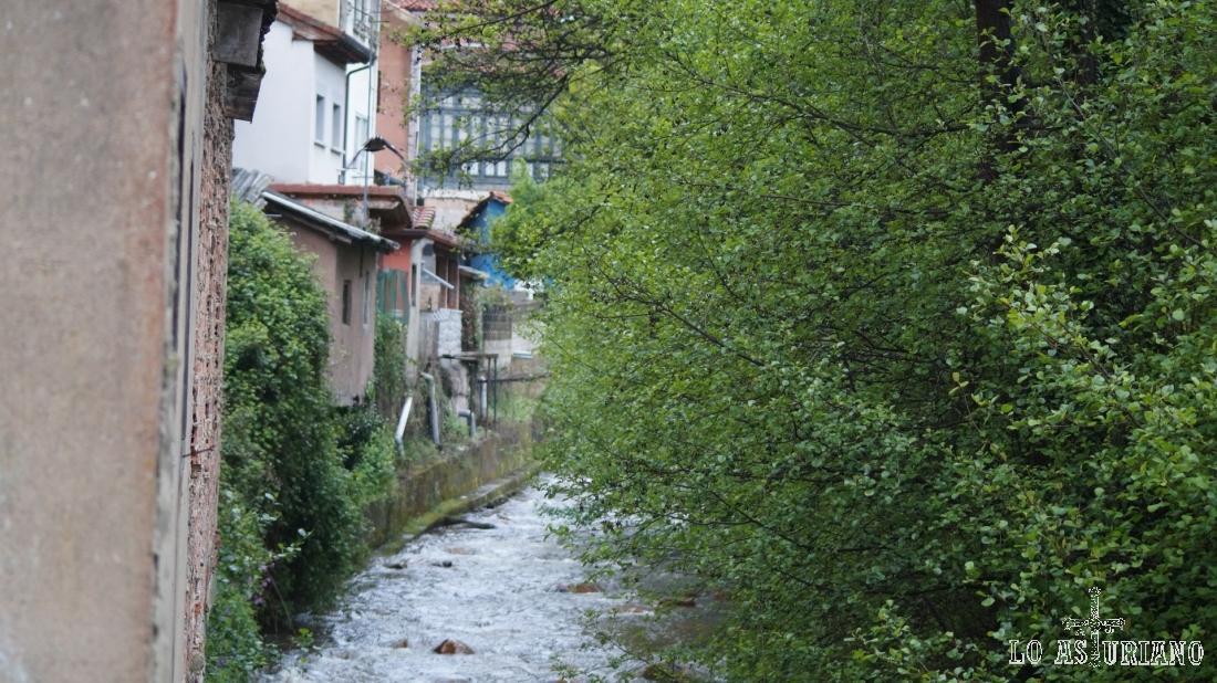 El río Valdecarzana a su paso por Teverga; comienzo de nuestra ruta.