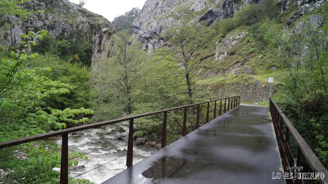 Puente metálico sobre el río Teverga.