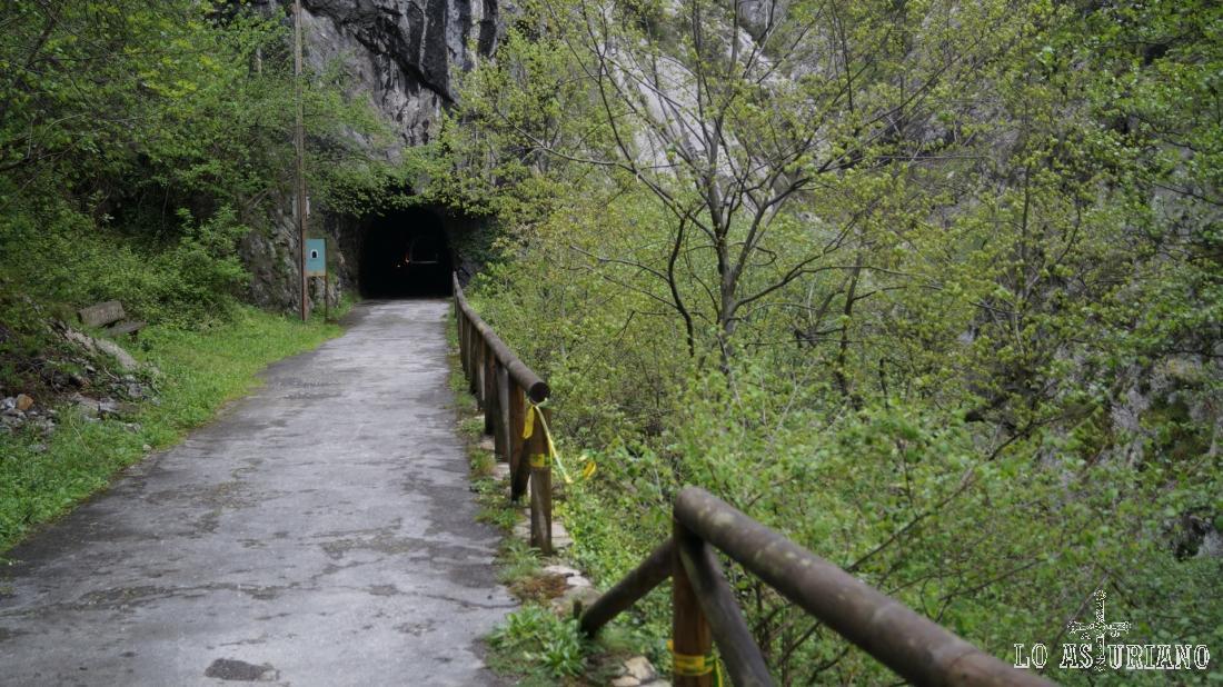Llegando a uno de los túneles del camino.