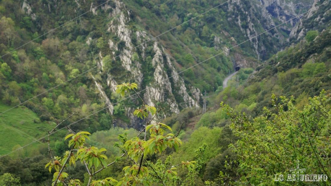 Impresionantes paisajes, allí abajo, por donde discurre la senda del oso. Arriba a la derecha, puedes ver uno de los mucho túneles.