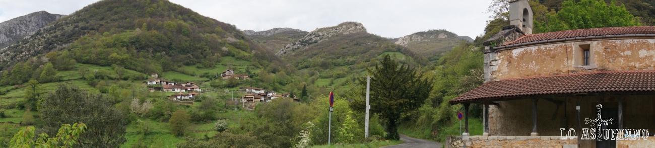 Panorámica de Fabar y Traspeña y de la iglesia de San Pedro, así como de la sierra de peña Gradura.