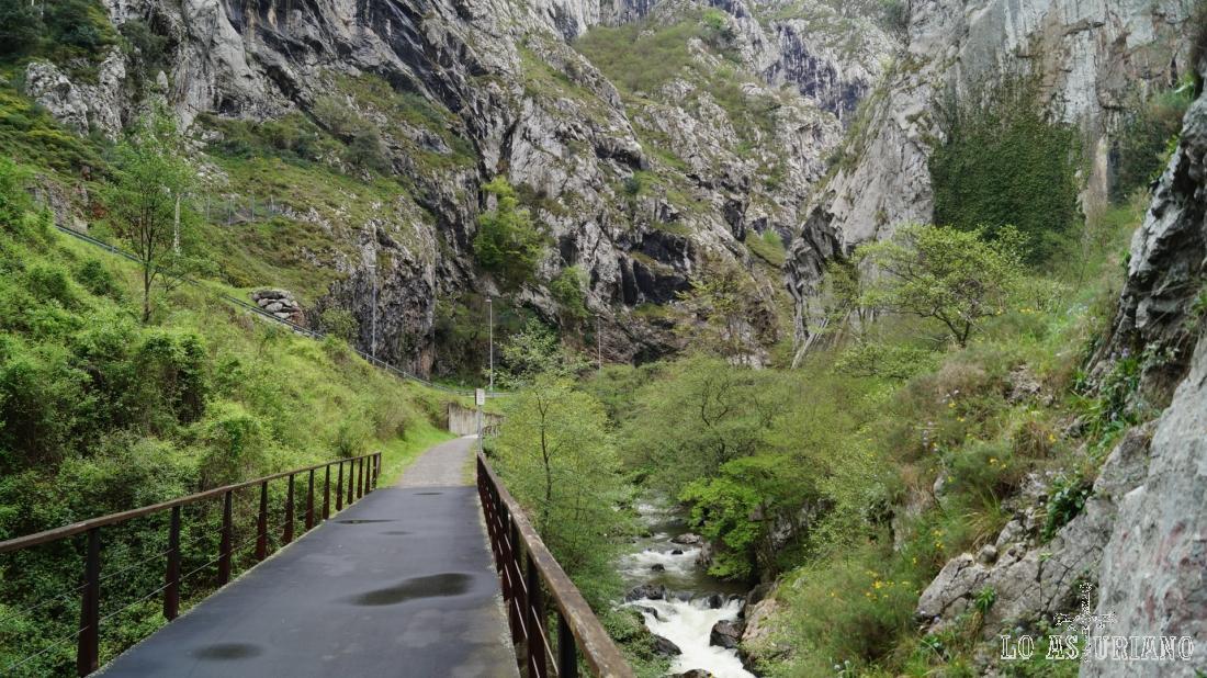 Puente, río Teverga y desfiladero de Valdecereizales.