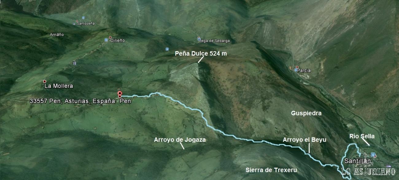 Mapa de la ruta del Beyu Pen, en Amieva, Asturias.