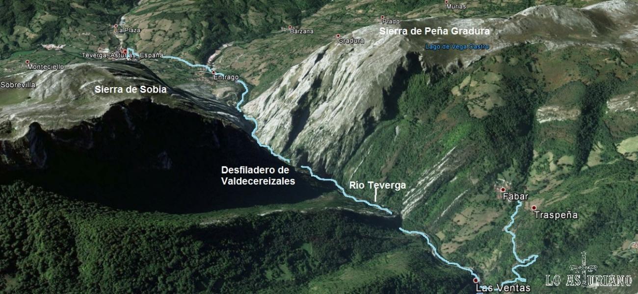Mapa del paseo entre San Martín de Teverga y Fabar.