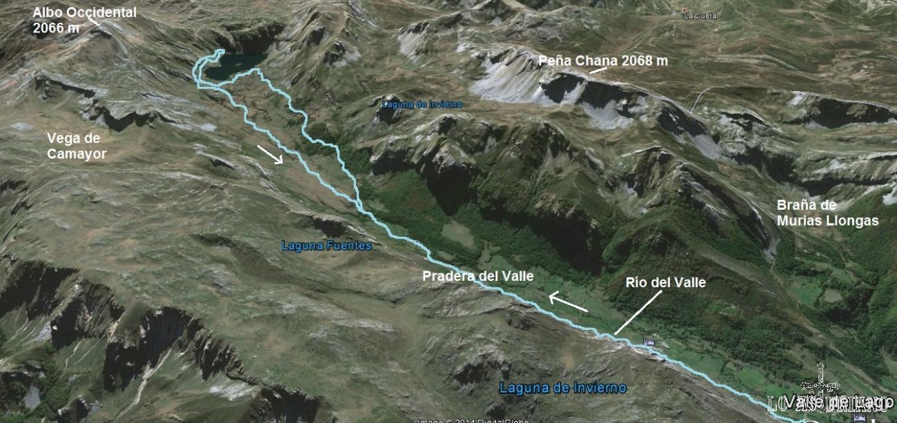 Mapa de la ruta entre el Valle de Lago hasta el Lago del Valle, Somiedo.