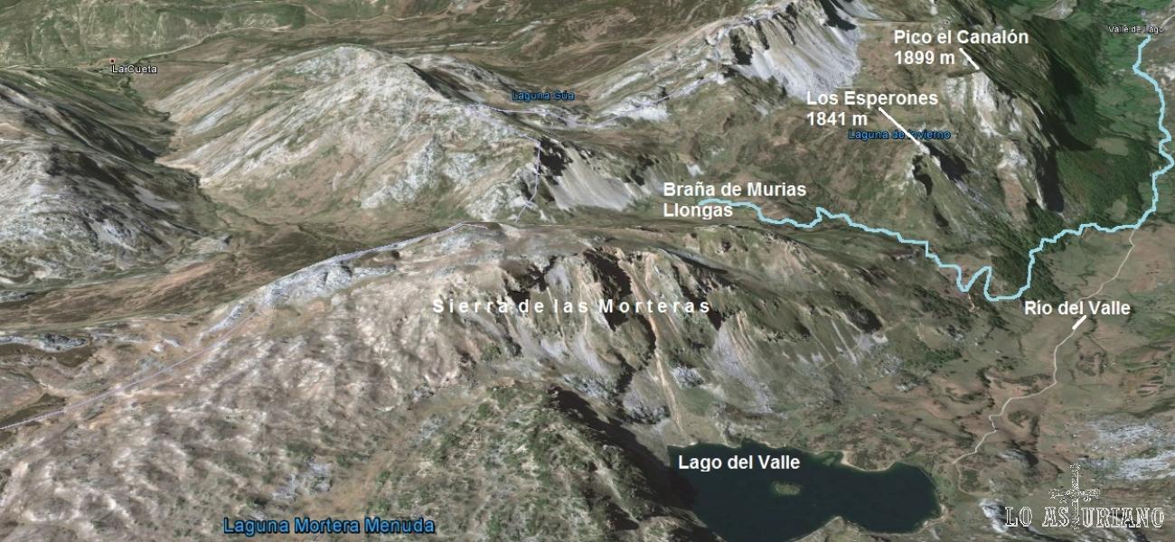 Mapa de la ruta desde L´Outeiro hasta la braña de Murias Llongas.