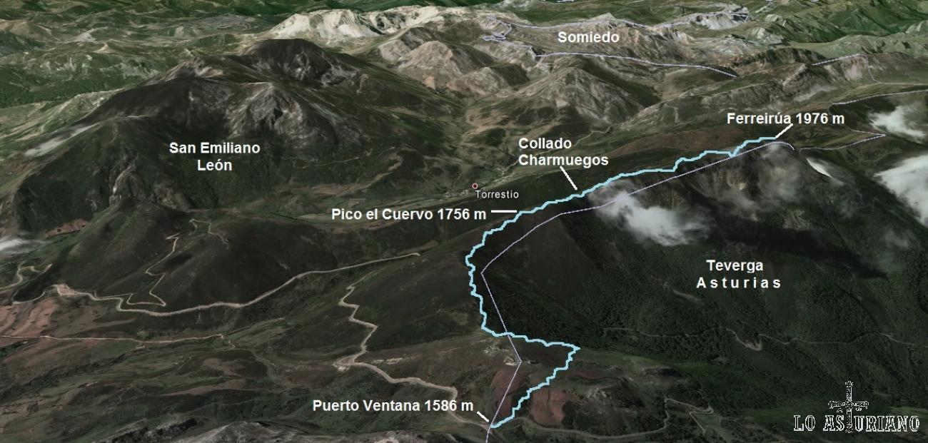 Mapa de la ruta entre el puerto de la Ventana y el alto de la Ferreirúa.
