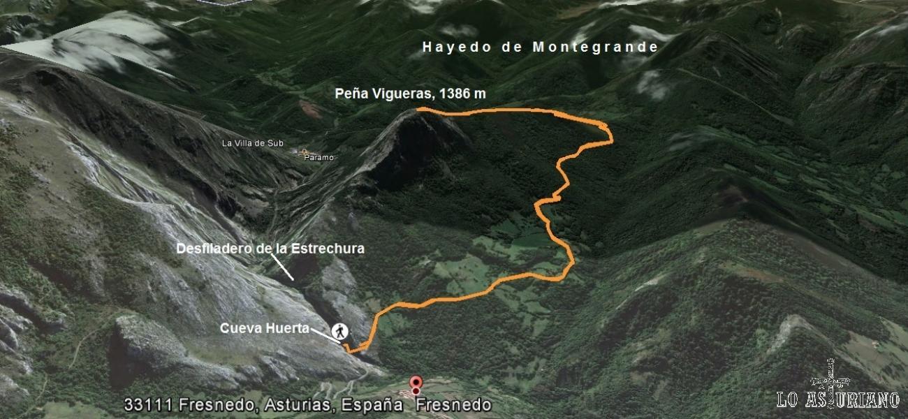 Mapa de la ascensión a la Peña Vigueras, desde Cueva Huerta.