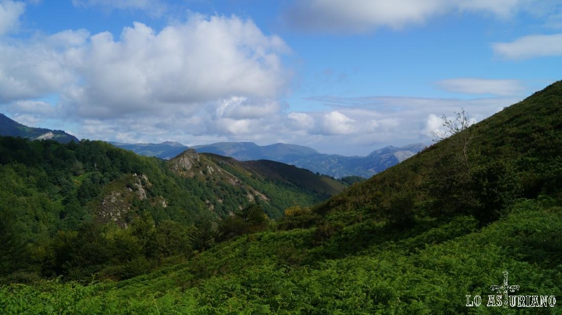 El pequeño y bonito valle, por donde hemos ido subiendo, desde la collada de Pando.