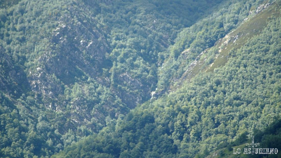 Zoom hacia la cascada del Xiblu, que se aprecia entre el espeso bosque tevergano.