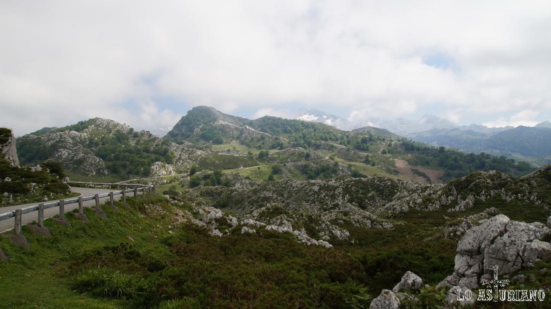 Carreterina de subida hacia los lagos de covadonga.