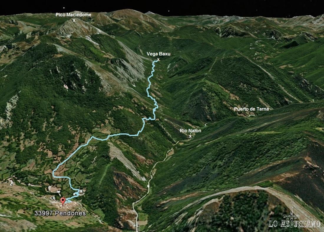 Mapa de la ruta Pendones a Vega Baxu, en el Parque Natural de Redes, Caso, Asturias.