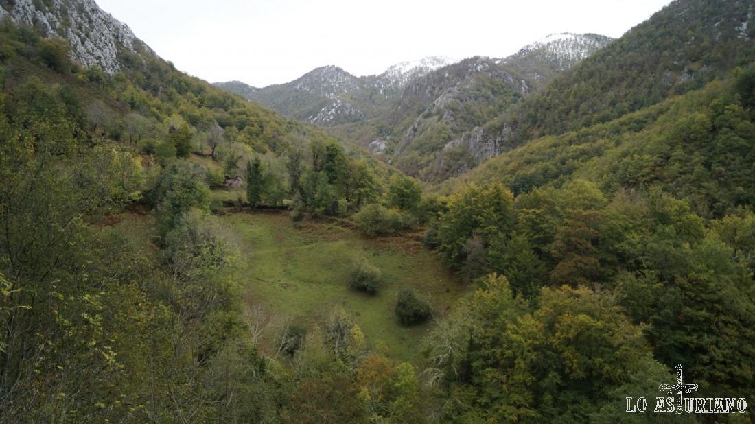 Majada la Texera, y los bosques del entorno de la Vega Baxu, al fondo.
