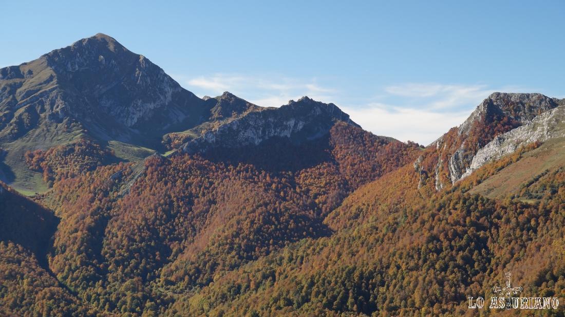 El Pileñes y parte del hayedo de Peloño.