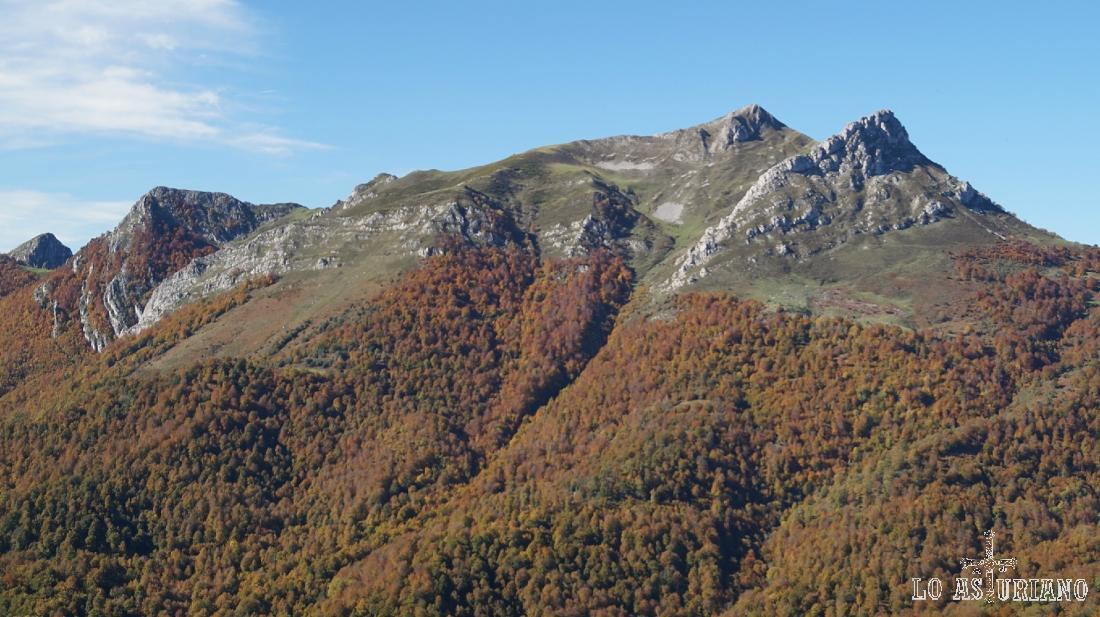 Los picos Zorru y Luengu, sobre el bosque de Peloño.