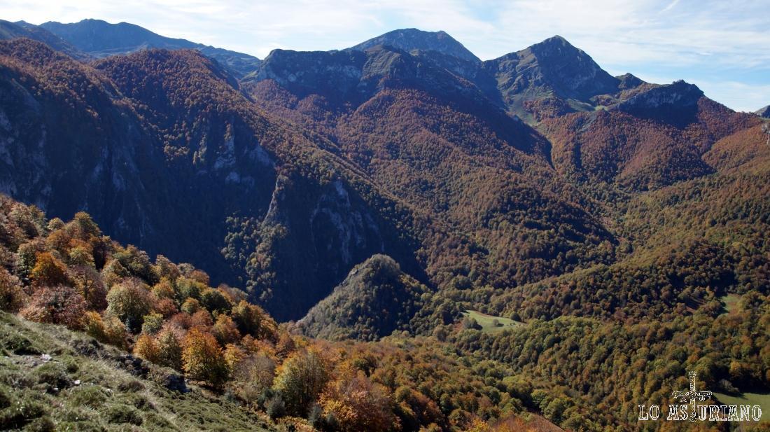 A la izquierda, abajo, la senda que hemos dejado, y al fondo, el bosque de Peloño.