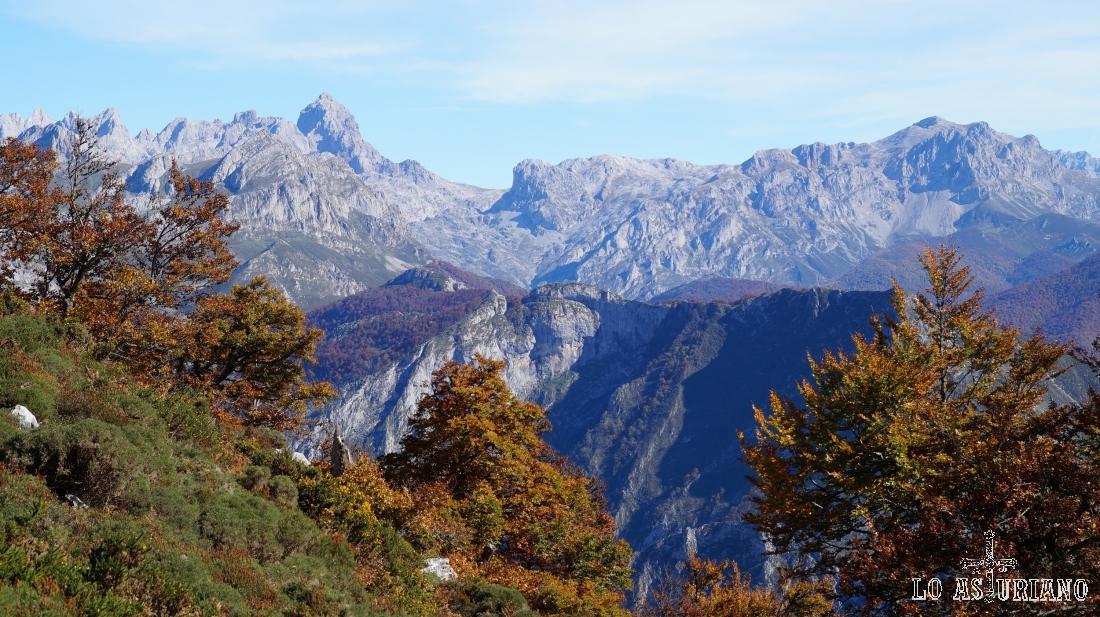 Desde las laderas del Sen de los Mulos, la Torre de Santa Maria, peña Santa de Castilla, y otras cimas de Picos de Europa.