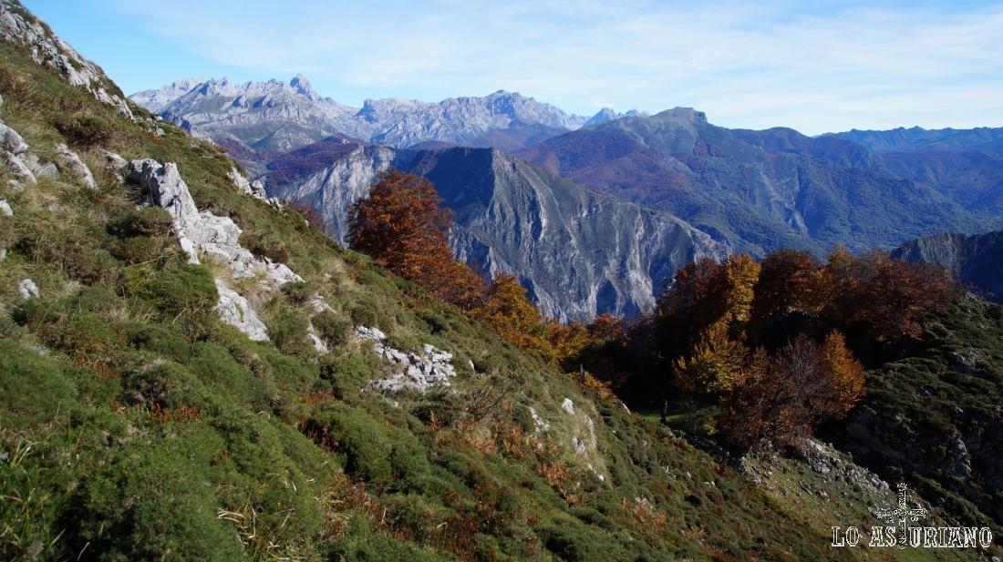 Al este, Picos de Europa y también la parte del Parque Regional, ya en la montaña leonesa.