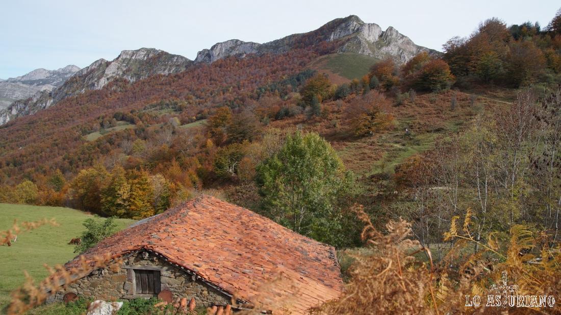 Cabaña y el Sen de los Mulos al fondo, preciosos paisajes del siempre agradecido Ponga.