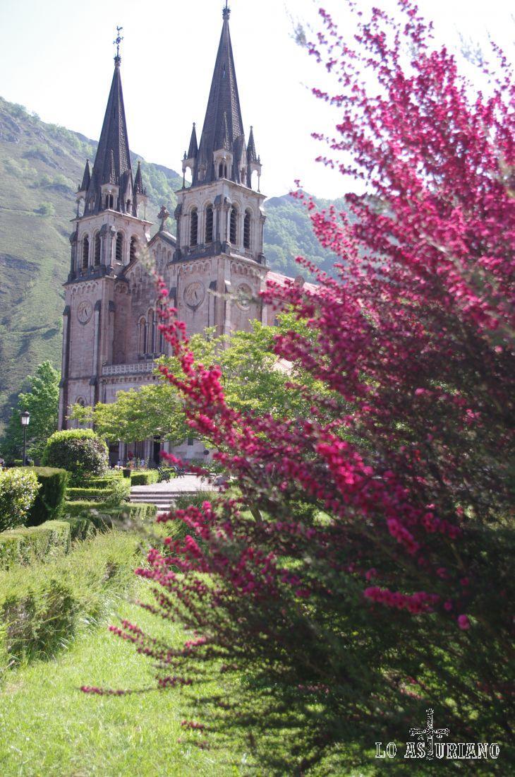 Primaveral estampa de la Basílica de Covadonga.