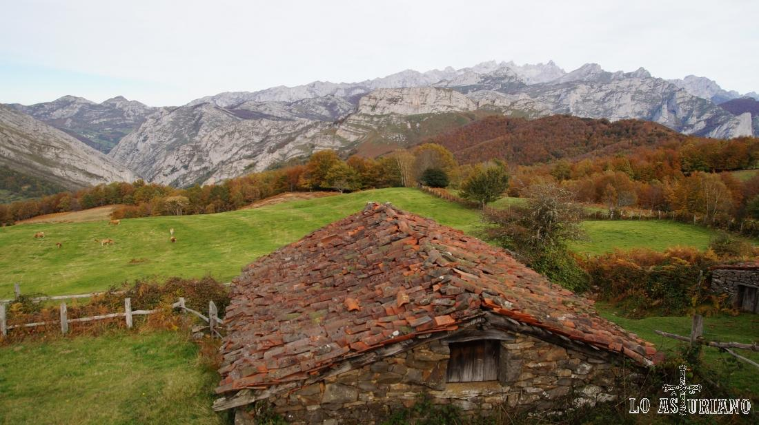 Estampa, paisaje otoñal en Les Bedules, Ponga, Asturias.