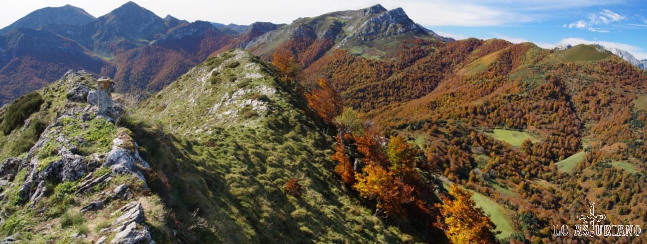 Desde la cima del Sen de los Mulos, el bosque de Peloño y cimas como Ten y Pileñes, Luengu y Zorru.