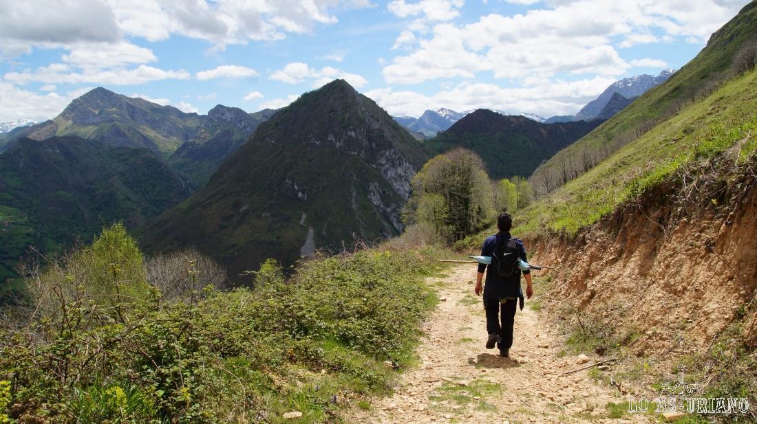 La plácida bajada, con el disfrute de las espectaculares vistas del Parque Natural de Ponga.