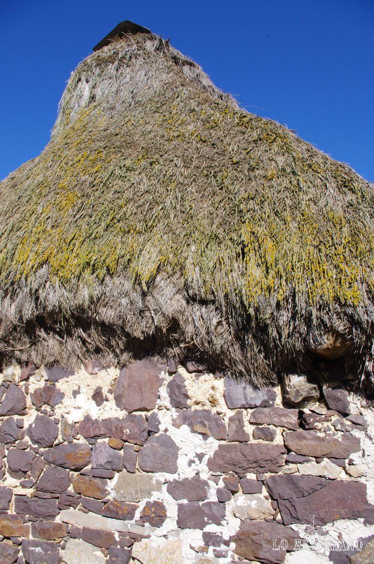 El teito de la braña tiene su tejado cubierto de ramas secas de escobas o piornos, que son precisos cambiar cada 15 años.