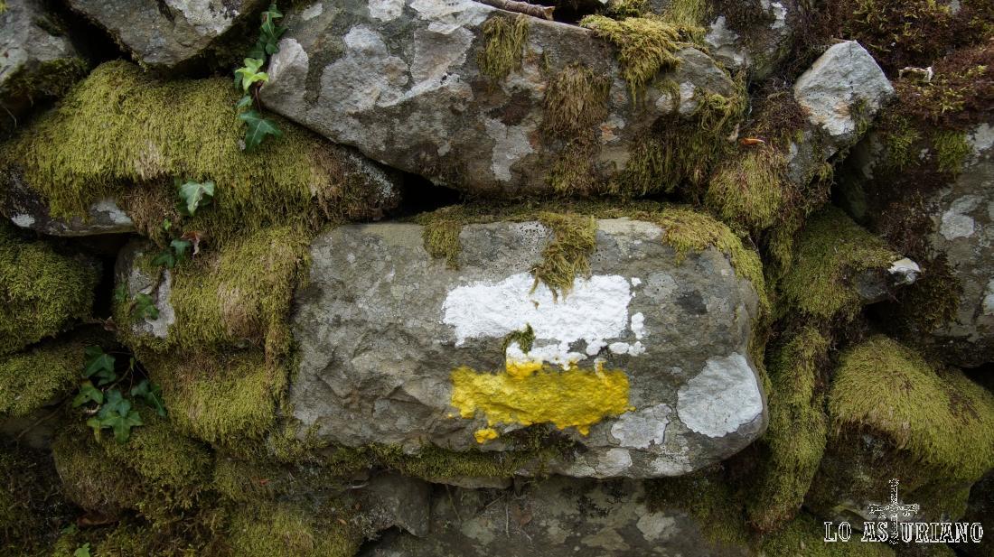 Marcas amarillas y blancas en una pared de piedra.