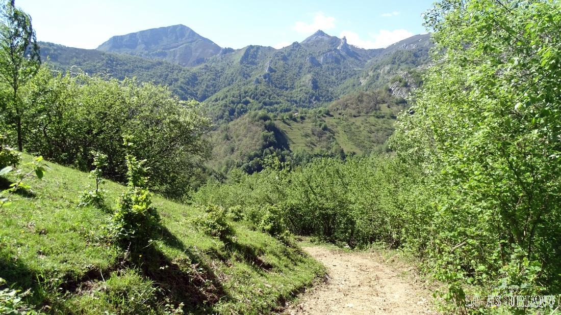 Los picos La Senda y la Carasca, desde la pista que baja por la foz del Congostín, hacia Pendones.