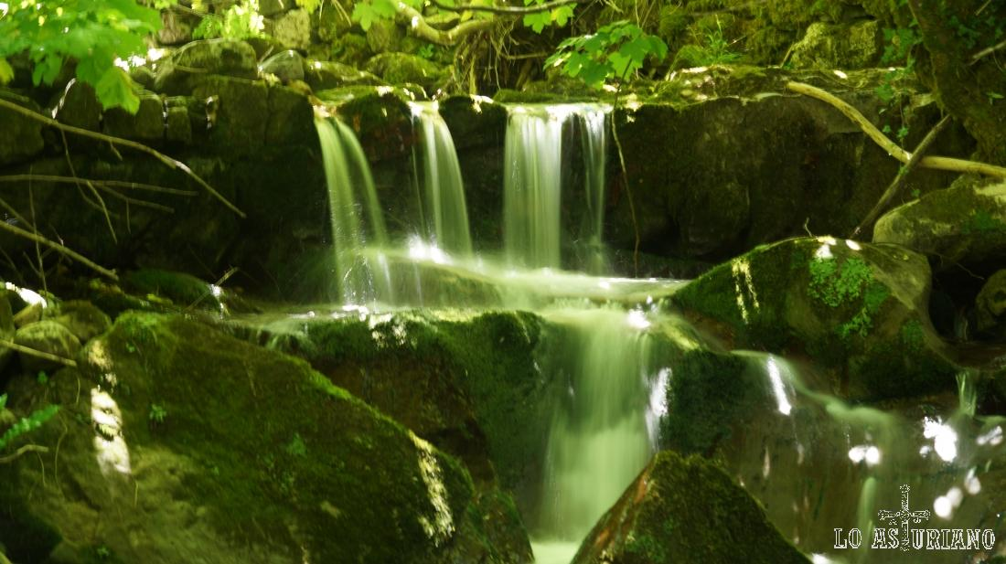 Pequeñas cascadas, con las que nos regala el arroyo en Cuevas, Belmonte de Miranda.