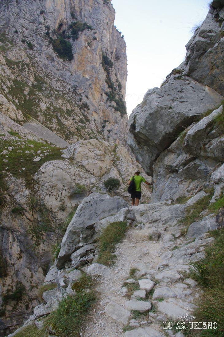 El camino de enormes piedras nos va conduciendo poco a poco hasta Poncebos.