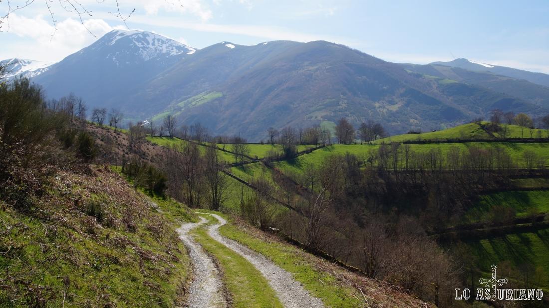 Parte final de la pista, que subiendo tranquilamente desde Lindelaovecha, nos deja en Vallado.