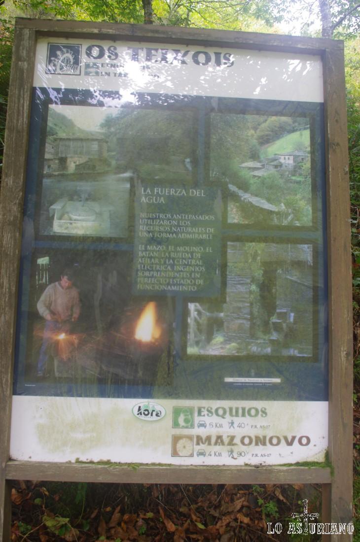 Panel explicativo de los oficios que se llevaban a cabo en esta aldea.