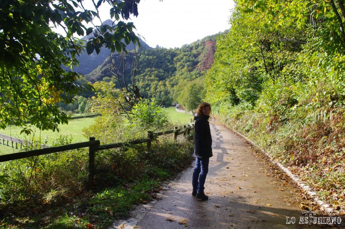 Caminamos primero hacia la zona de Vallina les Endroses, que puede adivinarse por el precioso pico del fondo. A la izquierda de estos picos, circula el Nozalín, que baja hasta el barrio de San Andrés, para unirse al Alba.