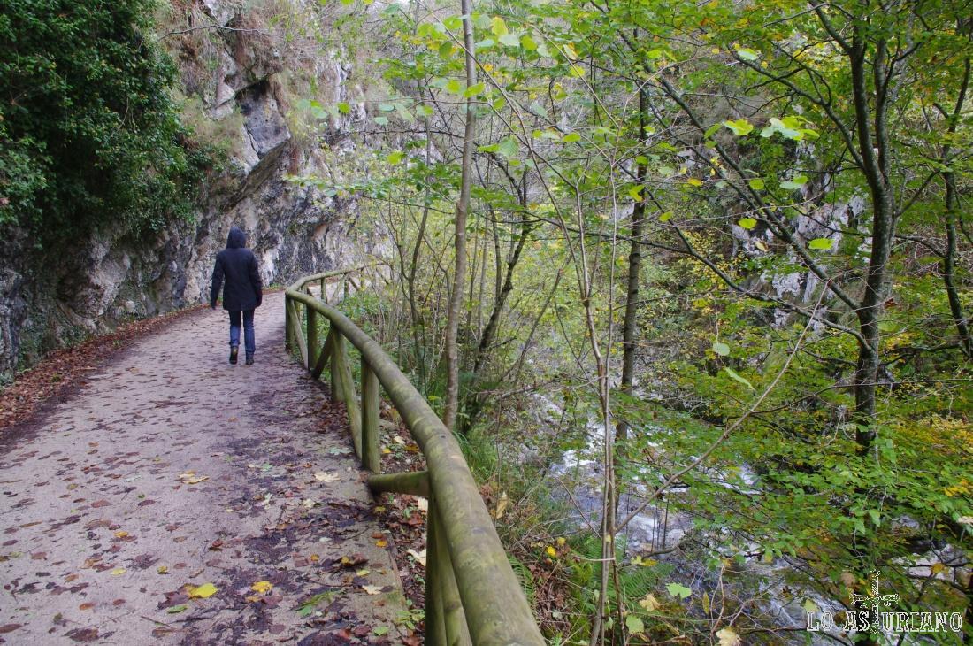 La senda del Alba está separada del río por esta valla.