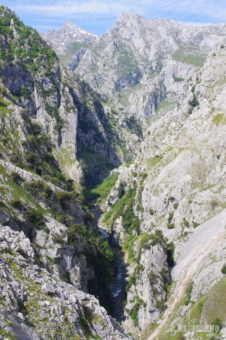 Al fondo peña Llambria, y entre las paredes del murallón de Amuesa y las rocas que están sobre nuestro camino, el río Cares.