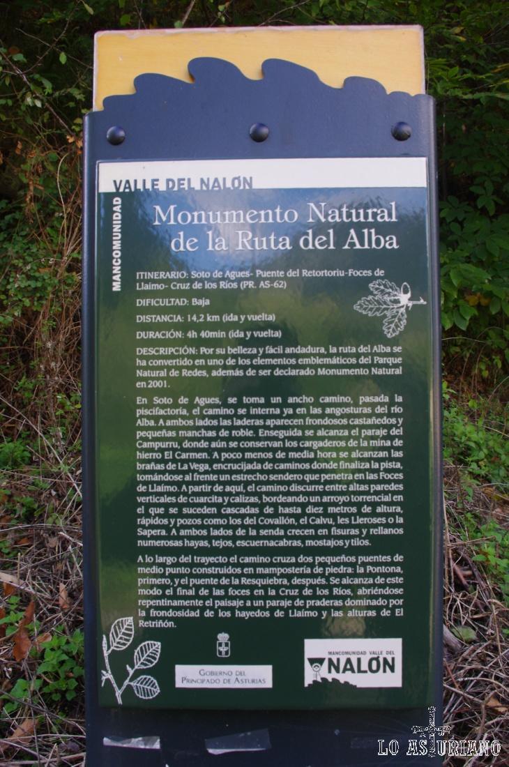 Amplia la foto con el cursor y podrás leer la explicación de la ruta del Alba.