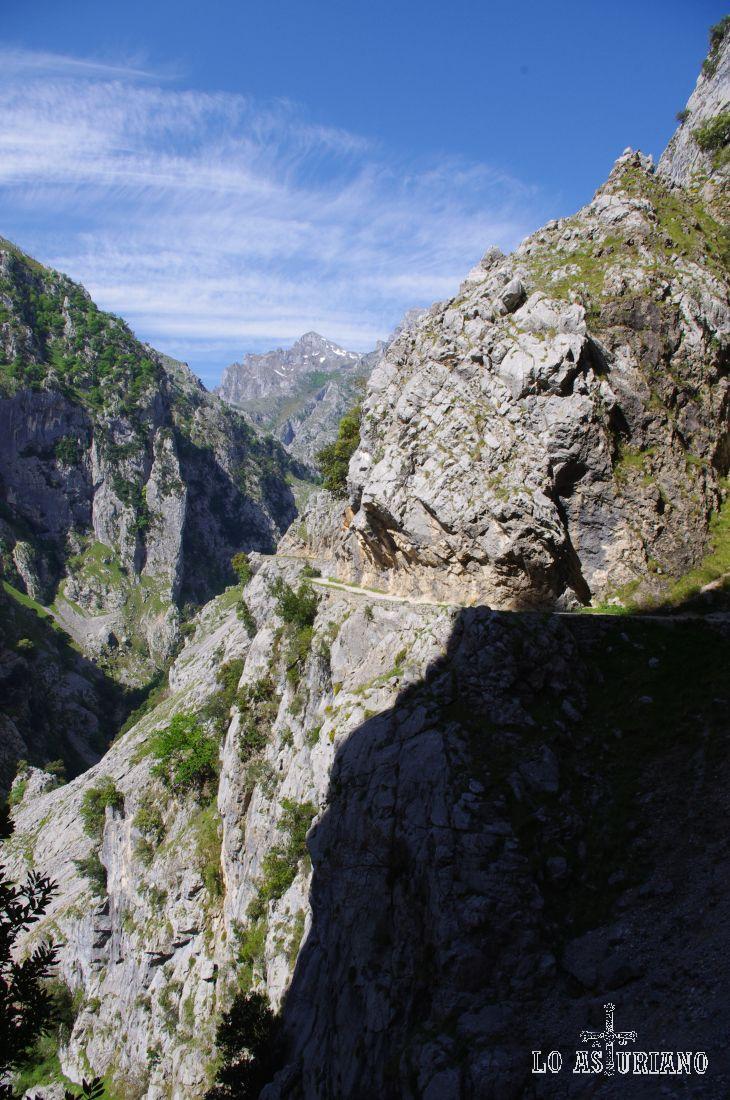 La ruta del Cares transcurre en algunos puntos a más de 100 metros sobre el río, formando unos cayentes espléndidos.
