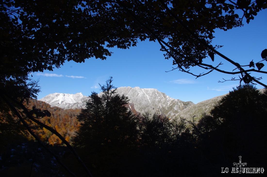 Al fondo, los montes de Brañapiñueli y el Pico Palocera, nevado.