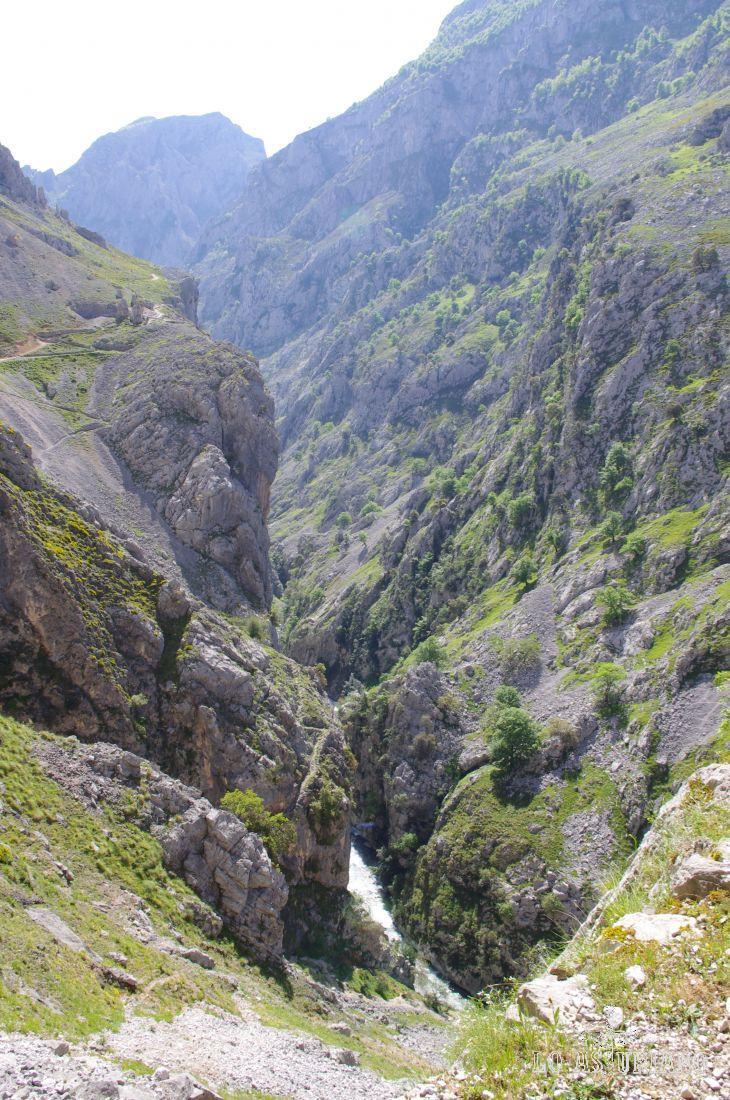 Las aguas del río Cares, bajando desde León, hacia Puente Poncebos.