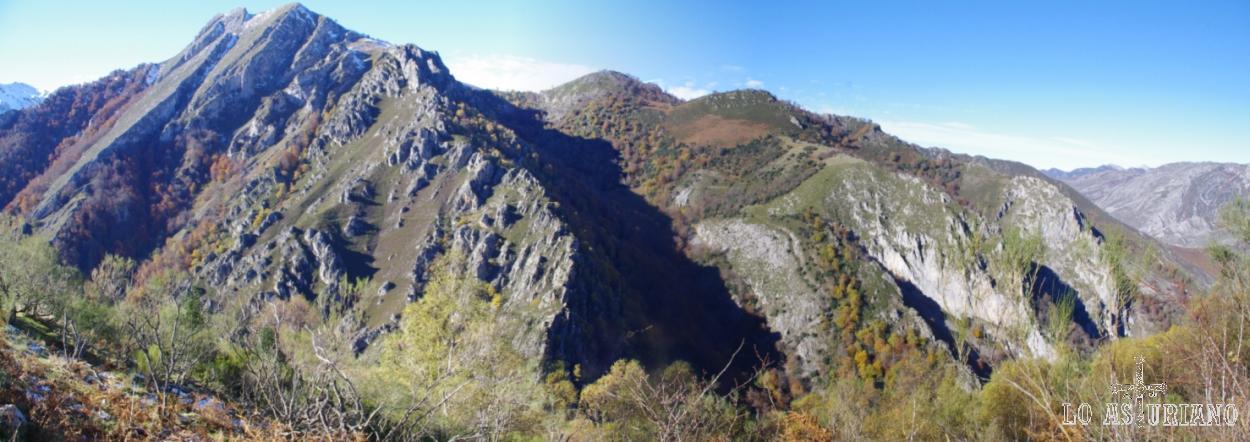 Peña Brenosa, que separa el valle del río Monasterio (de este lado) del valle del río Vallines (del otro lado).