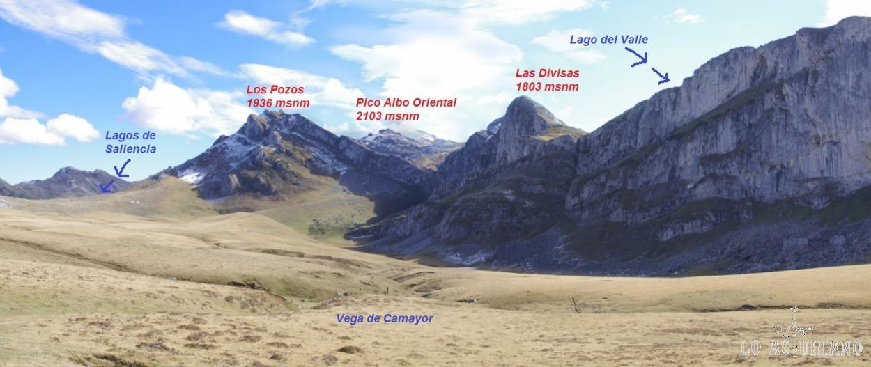 Cimas que vemos desde la Vega de Camayor, y que nos separan del Valle del Lago.