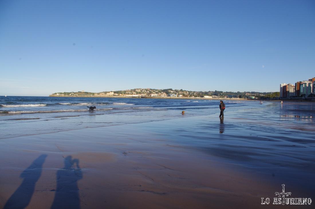 La playa de San Lorenzo de Gijón con marea baja.