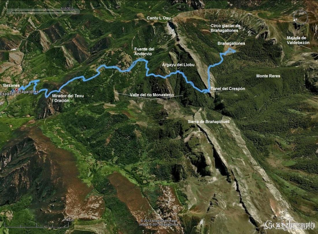 Mapa de la ruta de Brañagallones.