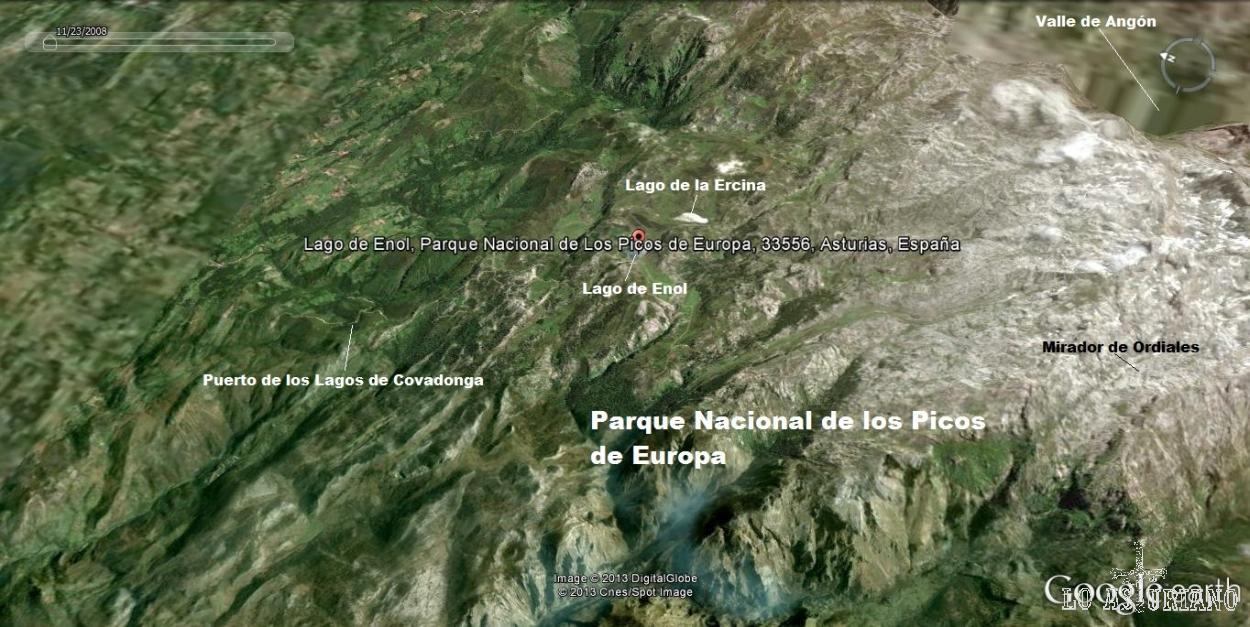 Mapa de ubicación de los Lagos de Covadonga, dentro de los Picos de Europa.